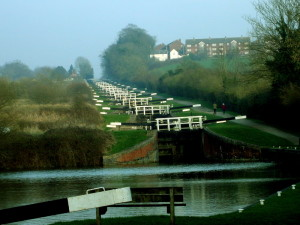 A flight of 16 locks climbs Caen Hill in Devizes