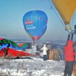 a winter flight in hot air balloons